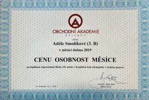 Osobnost měsíce - 04-2019 - Smolíková - certifikát