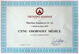 Certifikát - Osobnost 05-2019 - Zouhar