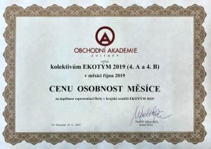 Osobnost - 10-2019 - EKOTÝMY - certifikát - foto