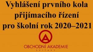 Vyhlášení přijímaček 2020 - OA
